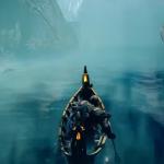 Kratos reist im Boot durch den Nebel