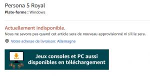 Ausschnitt aus dem französischen Amazon Shop: Persona 5 für Windows