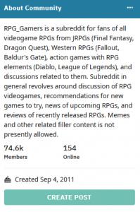 Subreddit: RPG Gamers